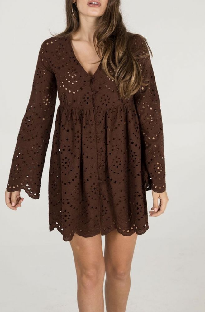 CHOCOLATE BROWN BRODERIE TUNIC TOP SIZES 8-16